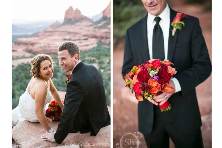 Groom holding a Sedona colors bouquet