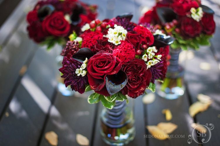 Bouquet of red flowers and roses in Sedona