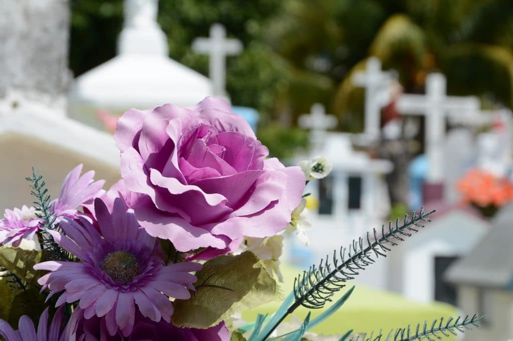 Sympathy and funeral floral arrangement in a cemetery