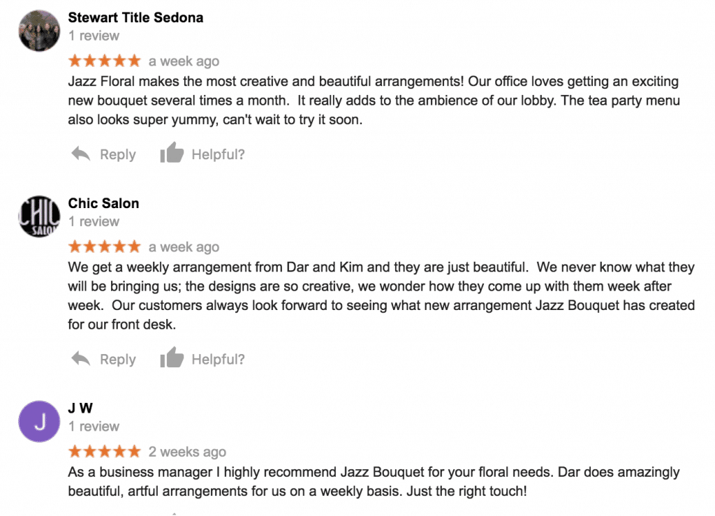 5 star reviews of jazz bouquet from happy customers